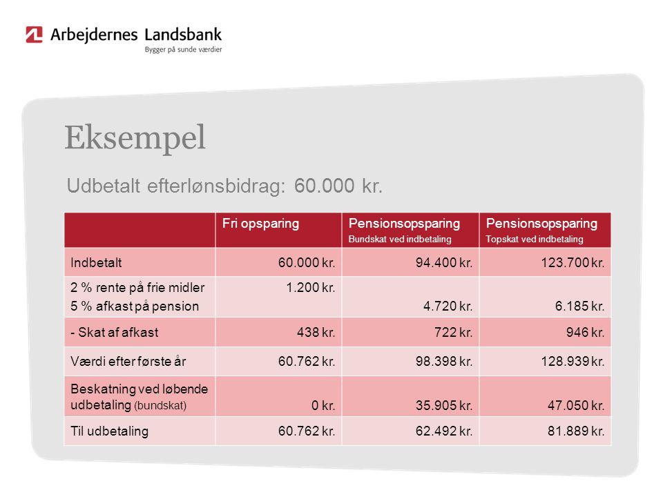 Eksempel Udbetalt efterlønsbidrag: 60.000 kr. Fri opsparing