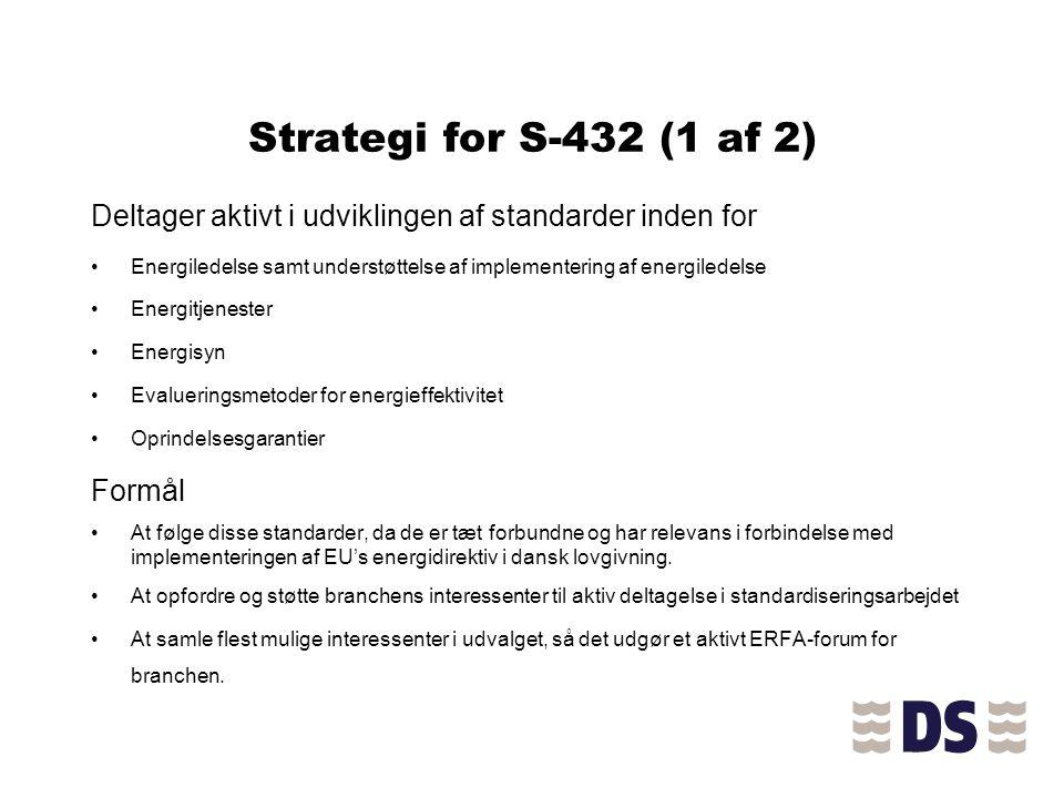 Strategi for S-432 (1 af 2) Deltager aktivt i udviklingen af standarder inden for.