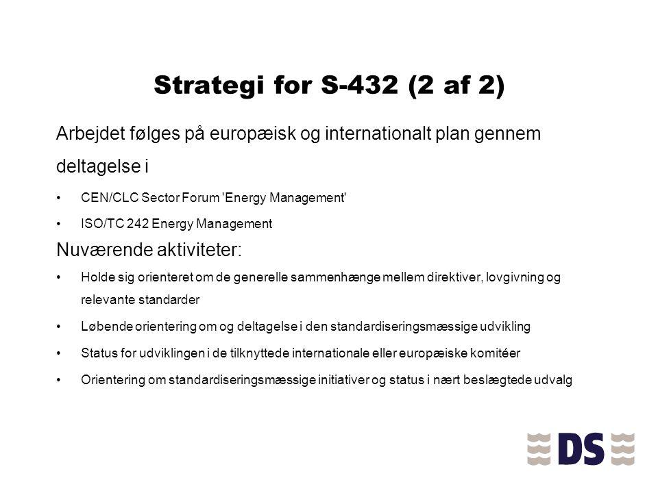 Strategi for S-432 (2 af 2) Arbejdet følges på europæisk og internationalt plan gennem deltagelse i.