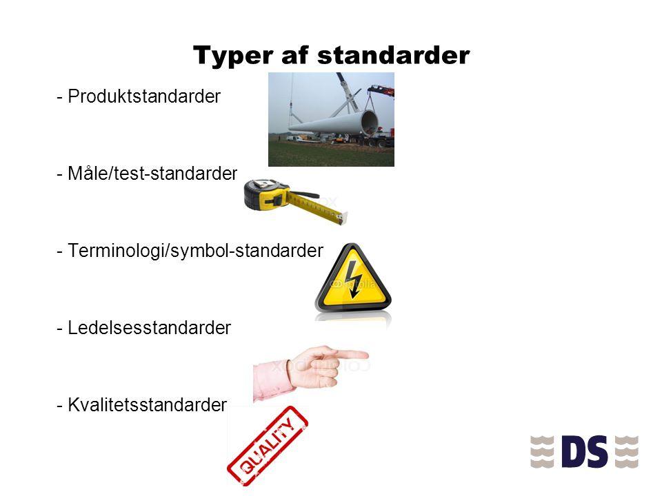 Typer af standarder - Produktstandarder - Måle/test-standarder