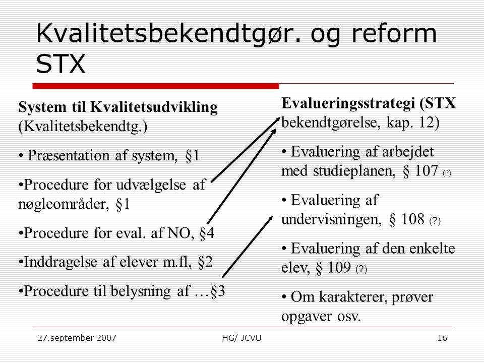 Kvalitetsbekendtgør. og reform STX