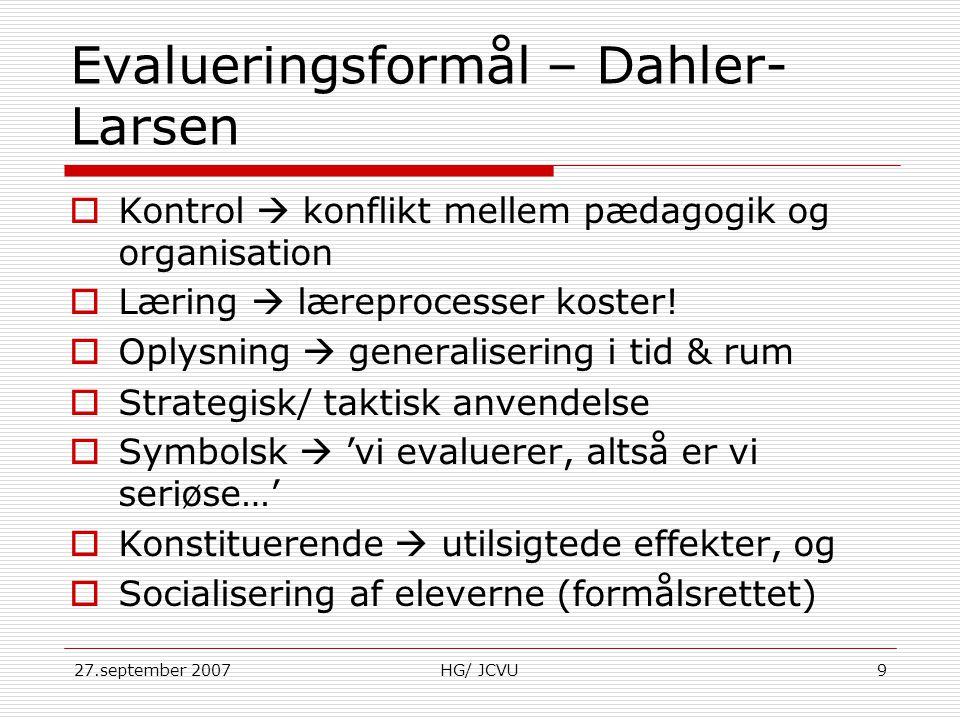 Evalueringsformål – Dahler-Larsen