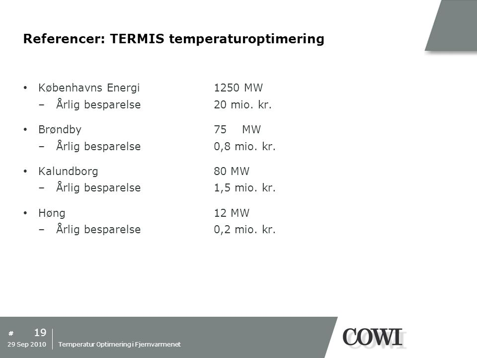 Referencer: TERMIS temperaturoptimering