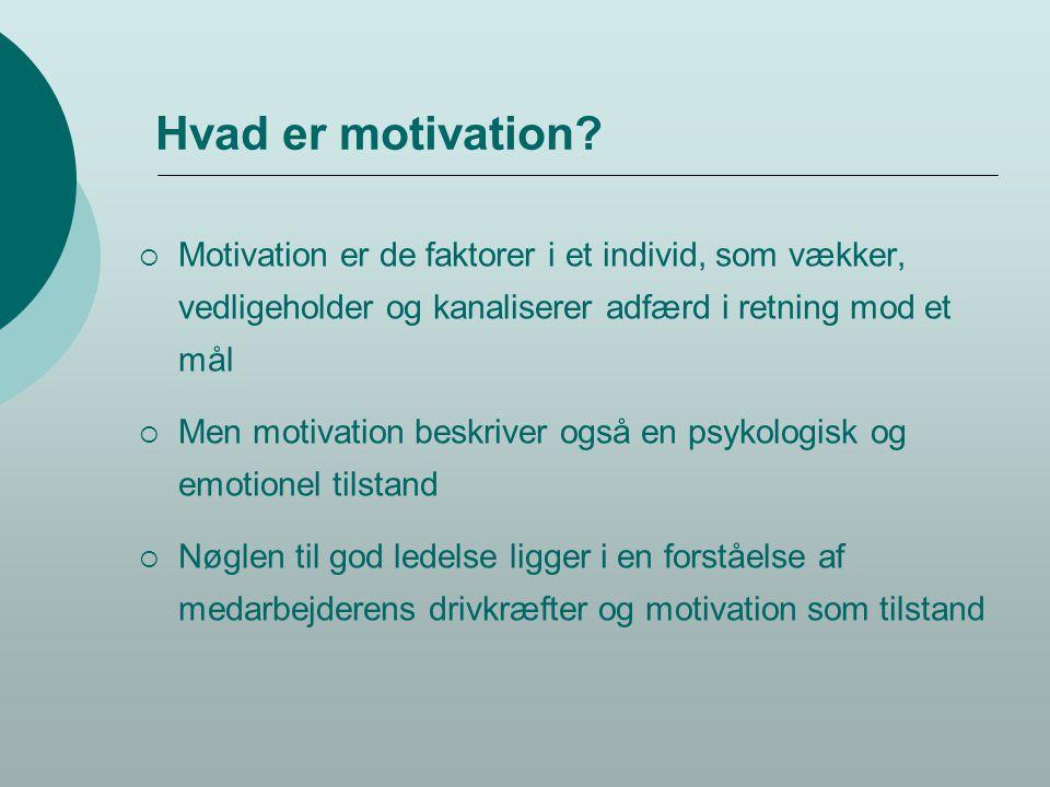 Hvad er motivation Motivation er de faktorer i et individ, som vækker, vedligeholder og kanaliserer adfærd i retning mod et mål.