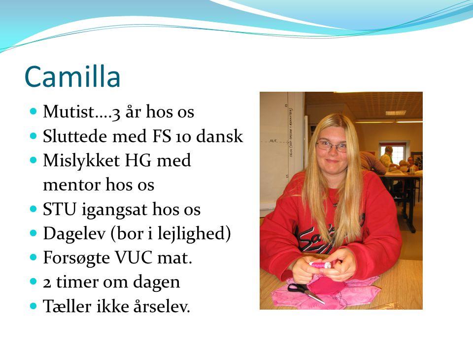 Camilla Mutist….3 år hos os Sluttede med FS 10 dansk Mislykket HG med