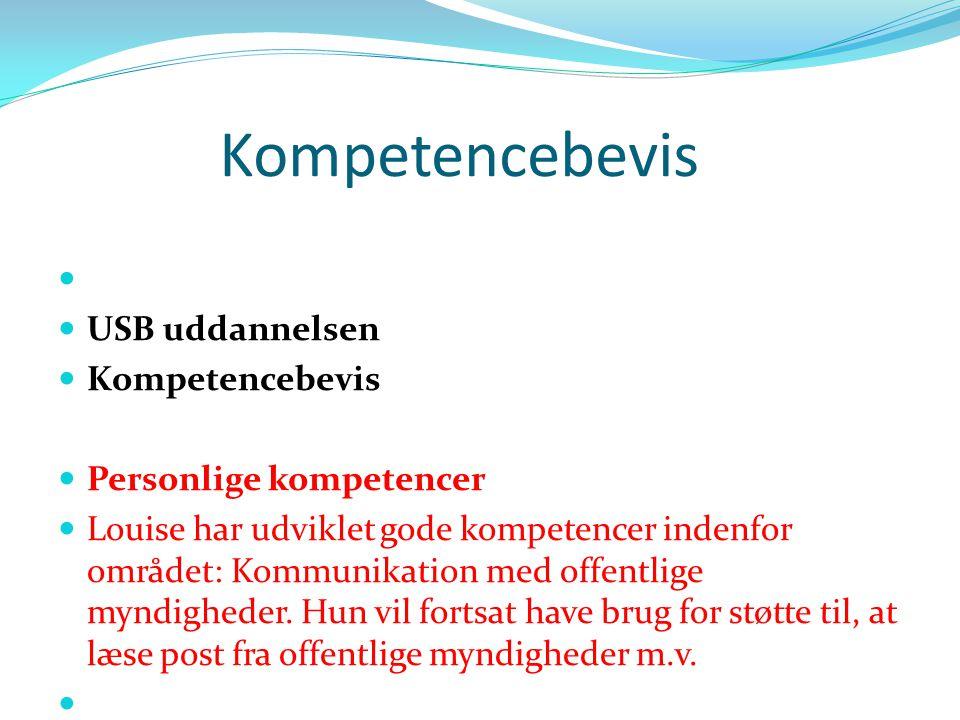 Kompetencebevis USB uddannelsen Kompetencebevis Personlige kompetencer