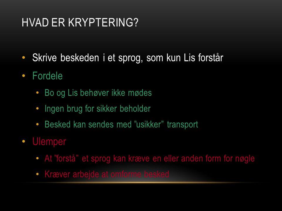 Hvad er kryptering Skrive beskeden i et sprog, som kun Lis forstår