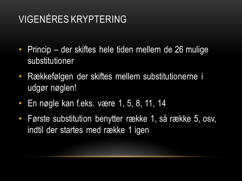Vigenéres kryptering Princip – der skiftes hele tiden mellem de 26 mulige substitutioner.