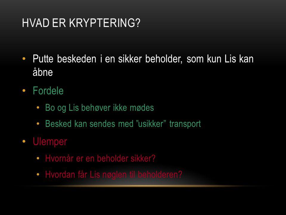 Hvad er kryptering Putte beskeden i en sikker beholder, som kun Lis kan åbne. Fordele. Bo og Lis behøver ikke mødes.
