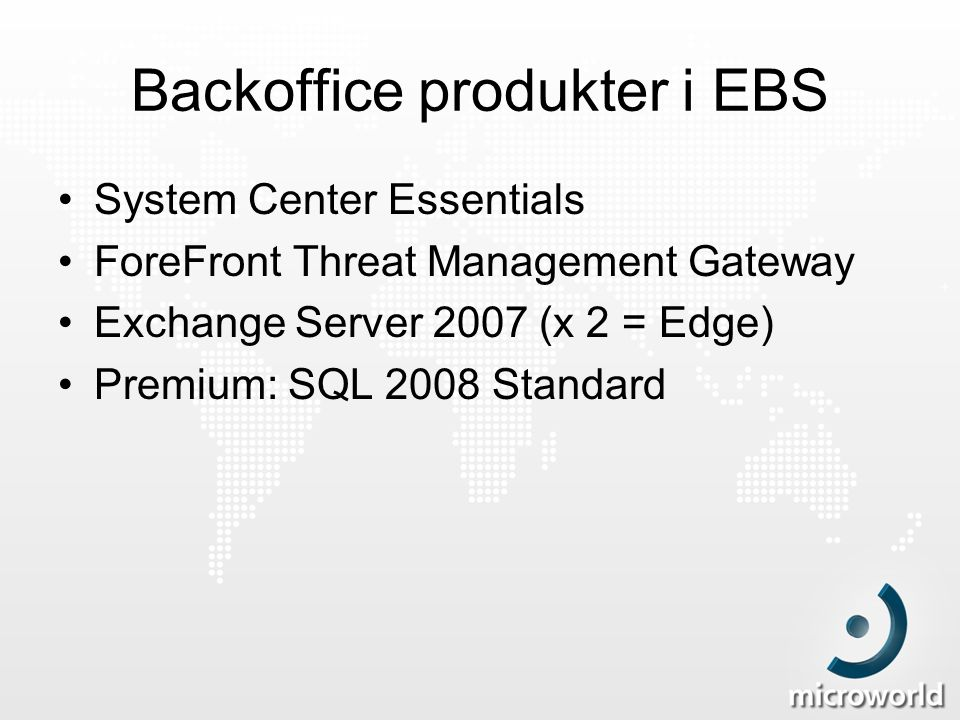 Backoffice produkter i EBS