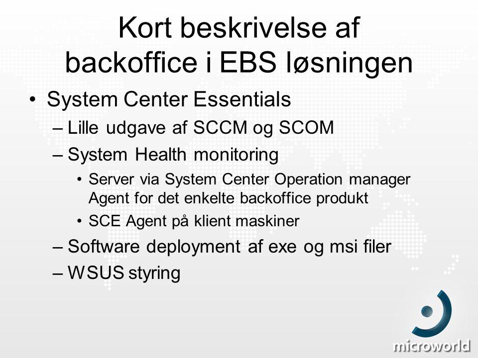 Kort beskrivelse af backoffice i EBS løsningen