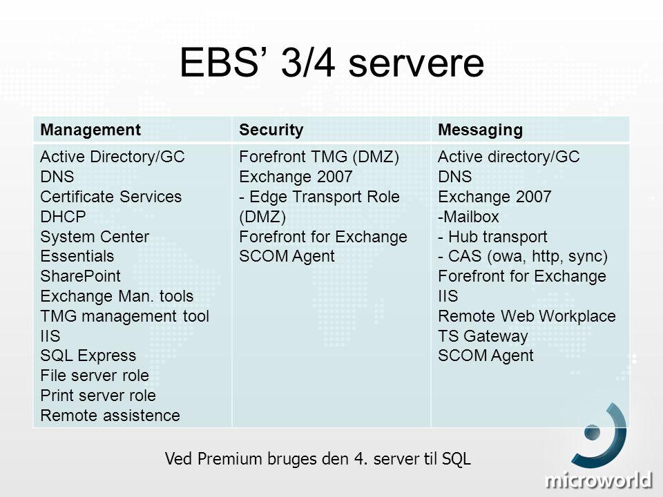 Ved Premium bruges den 4. server til SQL