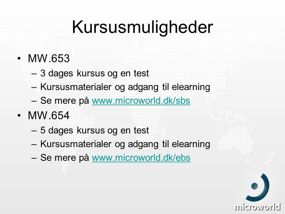 Kursusmuligheder MW.653 MW.654 3 dages kursus og en test