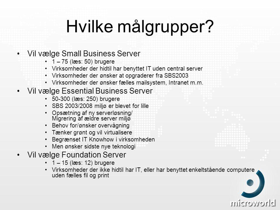 Hvilke målgrupper Vil vælge Small Business Server