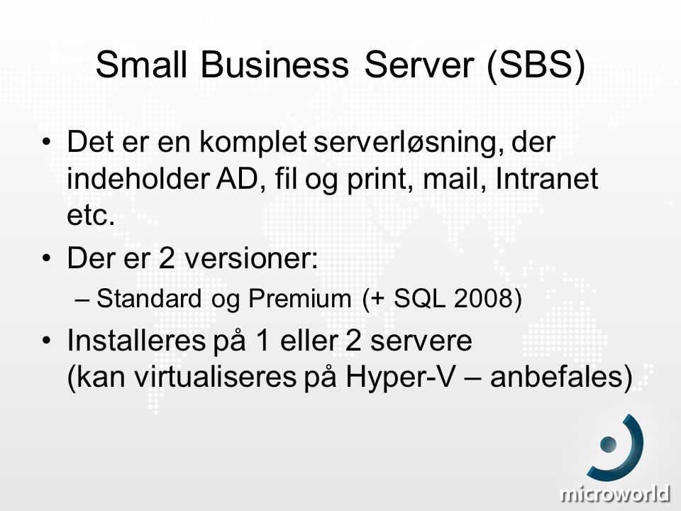 Small Business Server (SBS)