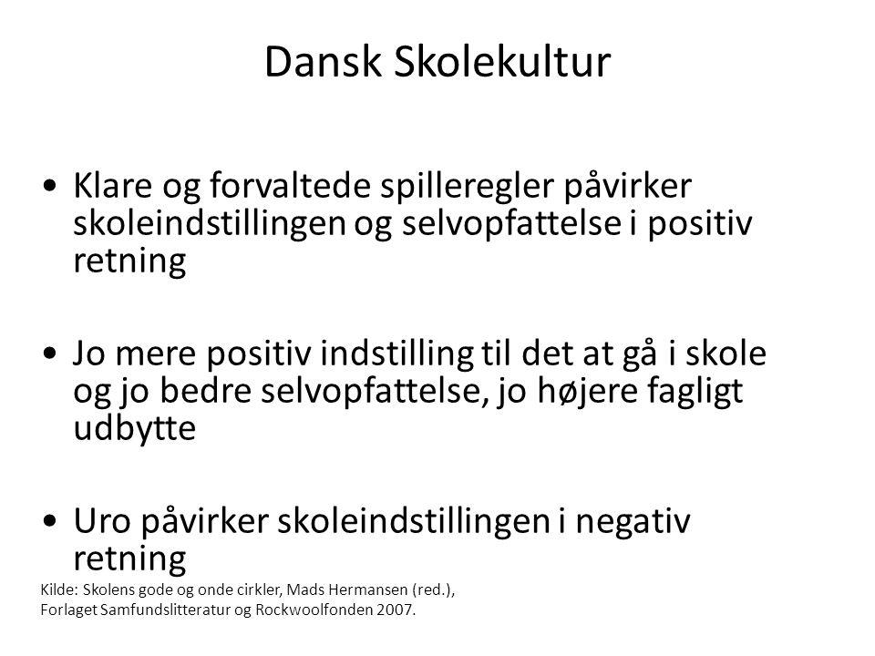 Dansk Skolekultur Klare og forvaltede spilleregler påvirker skoleindstillingen og selvopfattelse i positiv retning.