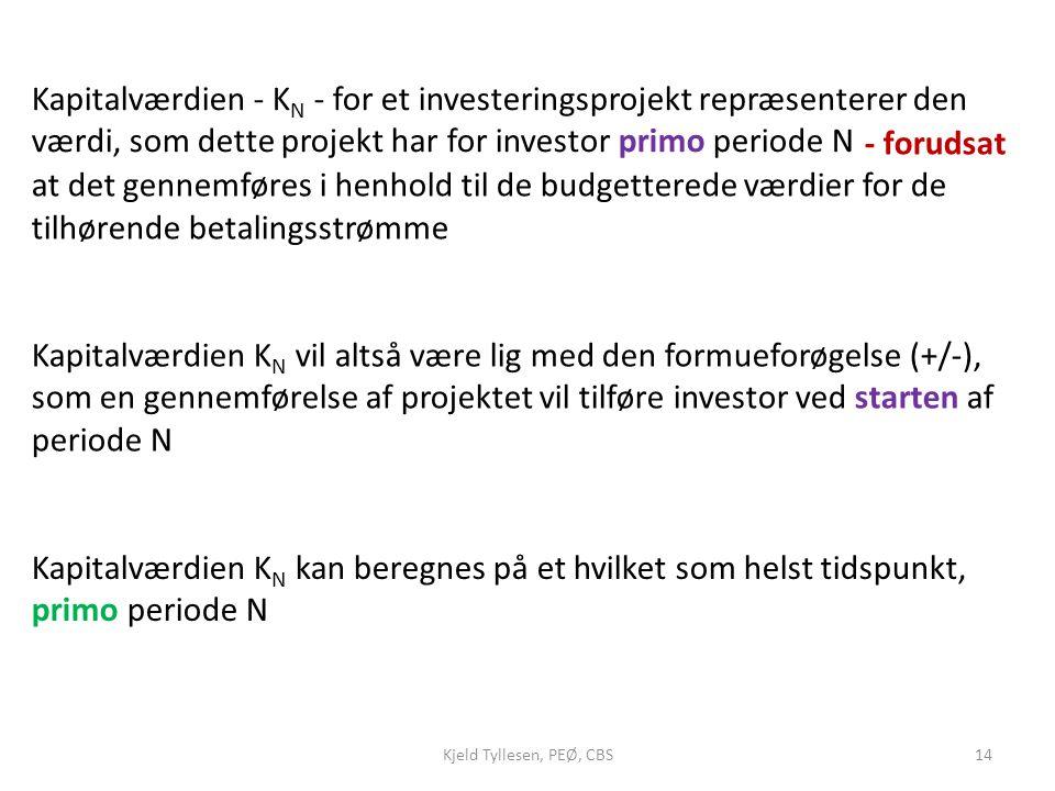 Kapitalværdien - KN - for et investeringsprojekt repræsenterer den værdi, som dette projekt har for investor primo periode N