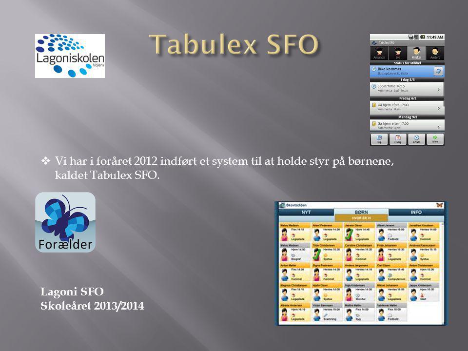 Tabulex SFO Vi har i foråret 2012 indført et system til at holde styr på børnene, kaldet Tabulex SFO.