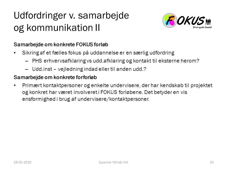 Udfordringer v. samarbejde og kommunikation II