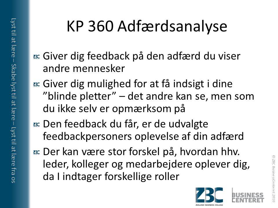 KP 360 Adfærdsanalyse Giver dig feedback på den adfærd du viser andre mennesker.