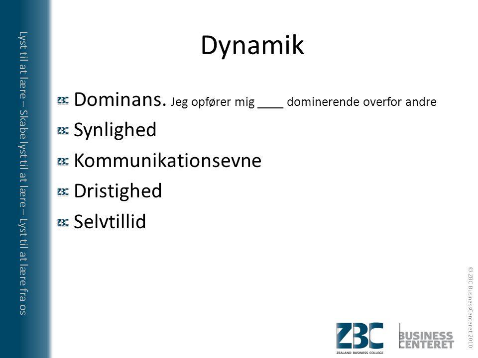 Dynamik Dominans. Jeg opfører mig ____ dominerende overfor andre