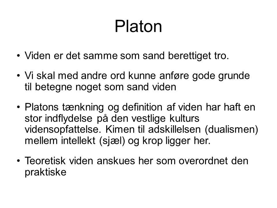 Platon Viden er det samme som sand berettiget tro.