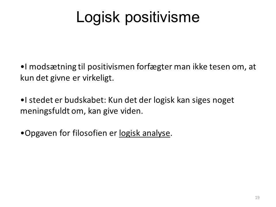 Logisk positivisme I modsætning til positivismen forfægter man ikke tesen om, at kun det givne er virkeligt.