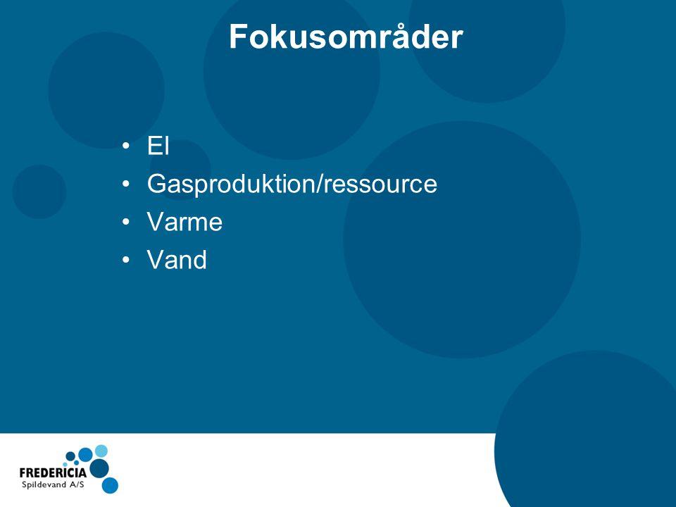 Fokusområder El Gasproduktion/ressource Varme Vand
