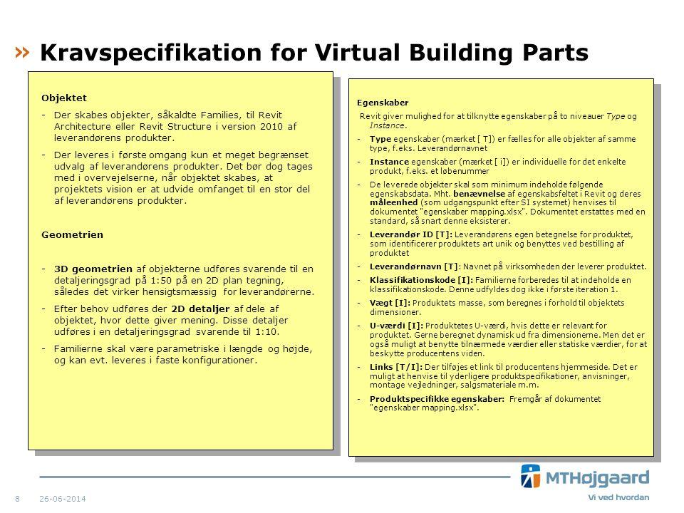 Kravspecifikation for Virtual Building Parts