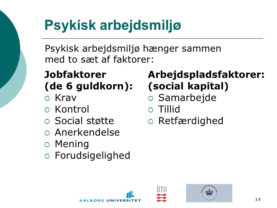 Psykisk arbejdsmiljø Jobfaktorer (de 6 guldkorn): Krav Kontrol