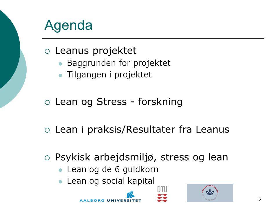 Agenda Leanus projektet Lean og Stress - forskning