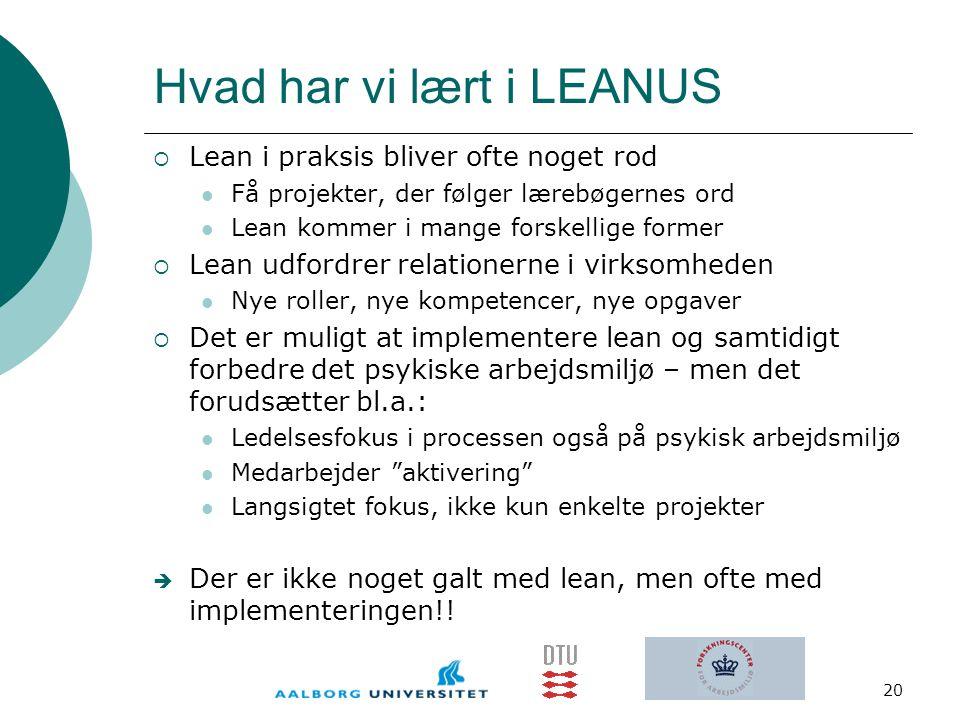 Hvad har vi lært i LEANUS