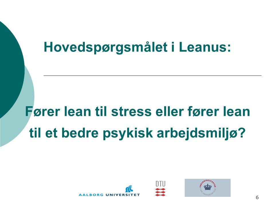 Hovedspørgsmålet i Leanus: Fører lean til stress eller fører lean til et bedre psykisk arbejdsmiljø