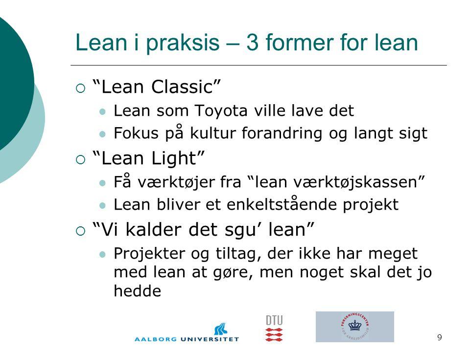 Lean i praksis – 3 former for lean