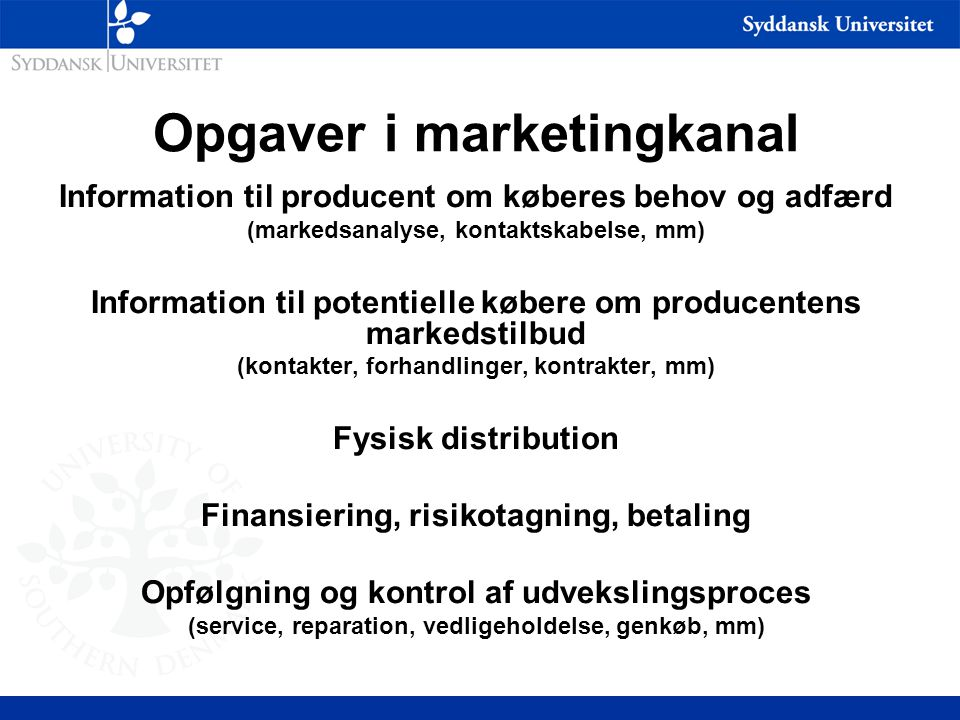 Opgaver i marketingkanal