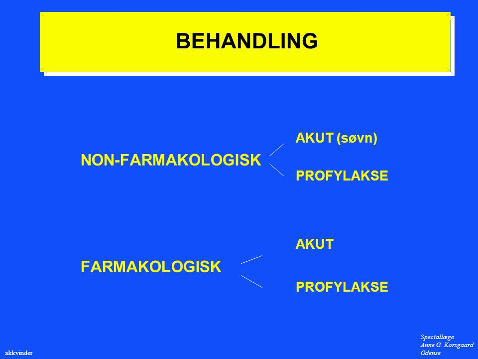 BEHANDLING AKUT (søvn) NON-FARMAKOLOGISK PROFYLAKSE AKUT FARMAKOLOGISK
