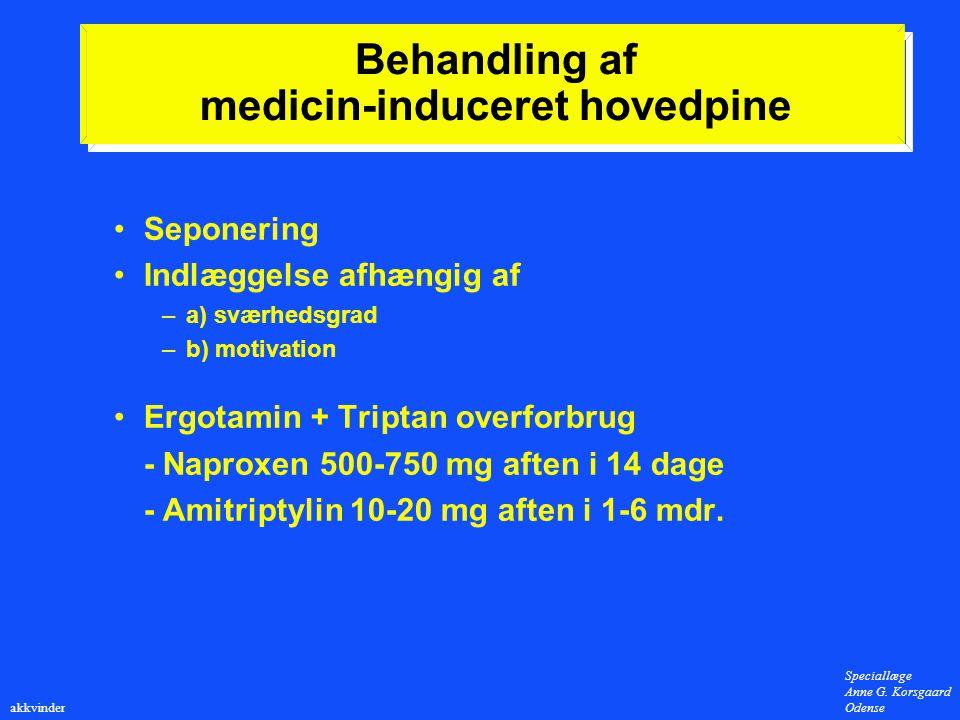 Behandling af medicin-induceret hovedpine