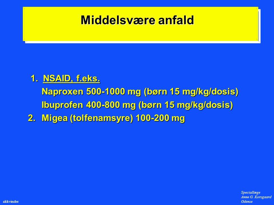 Middelsvære anfald 1. NSAID, f.eks.