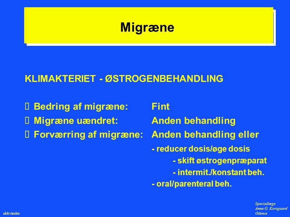 Migræne KLIMAKTERIET - ØSTROGENBEHANDLING Bedring af migræne: Fint