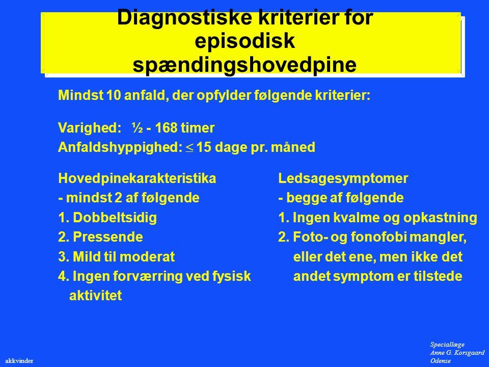 Diagnostiske kriterier for episodisk spændingshovedpine