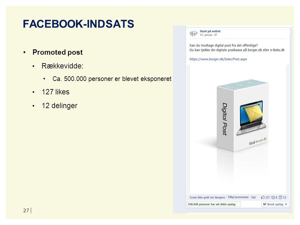 Facebook-indsats Promoted post Rækkevidde: 127 likes 12 delinger