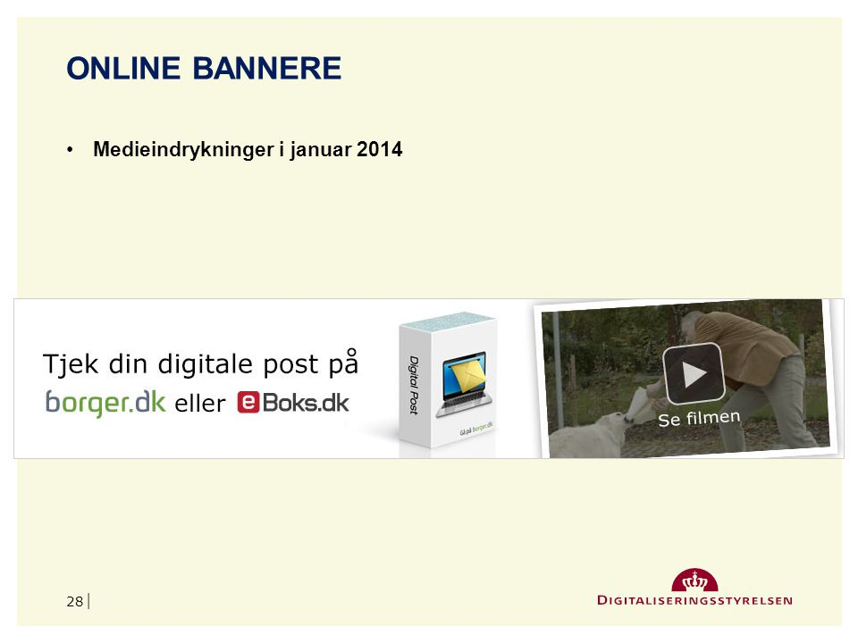 Online bannere Medieindrykninger i januar 2014 april 2017