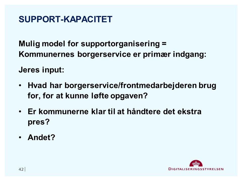 Support-kapacitet Mulig model for supportorganisering = Kommunernes borgerservice er primær indgang: