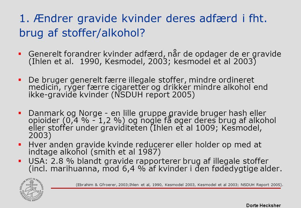 1. Ændrer gravide kvinder deres adfærd i fht. brug af stoffer/alkohol