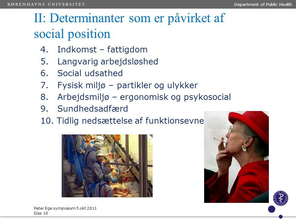 II: Determinanter som er påvirket af social position