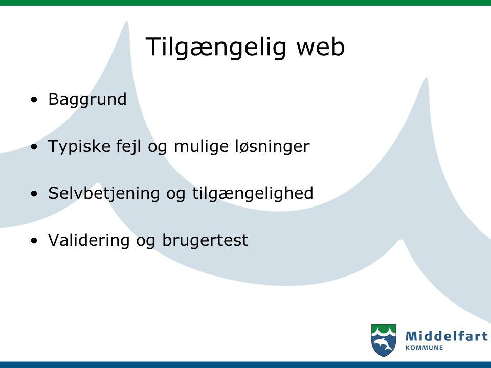 Tilgængelig web Baggrund Typiske fejl og mulige løsninger