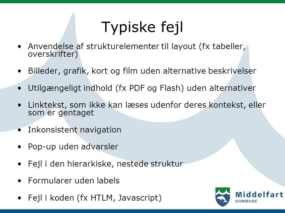 Typiske fejl Anvendelse af strukturelementer til layout (fx tabeller, overskrifter) Billeder, grafik, kort og film uden alternative beskrivelser.