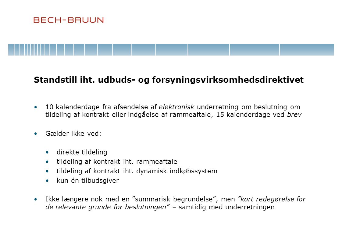 Standstill iht. udbuds- og forsyningsvirksomhedsdirektivet