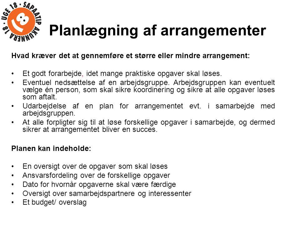 Planlægning af arrangementer