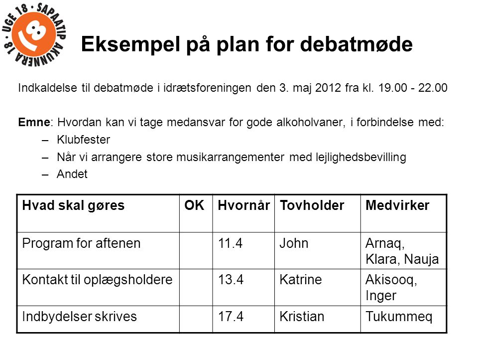 Eksempel på plan for debatmøde